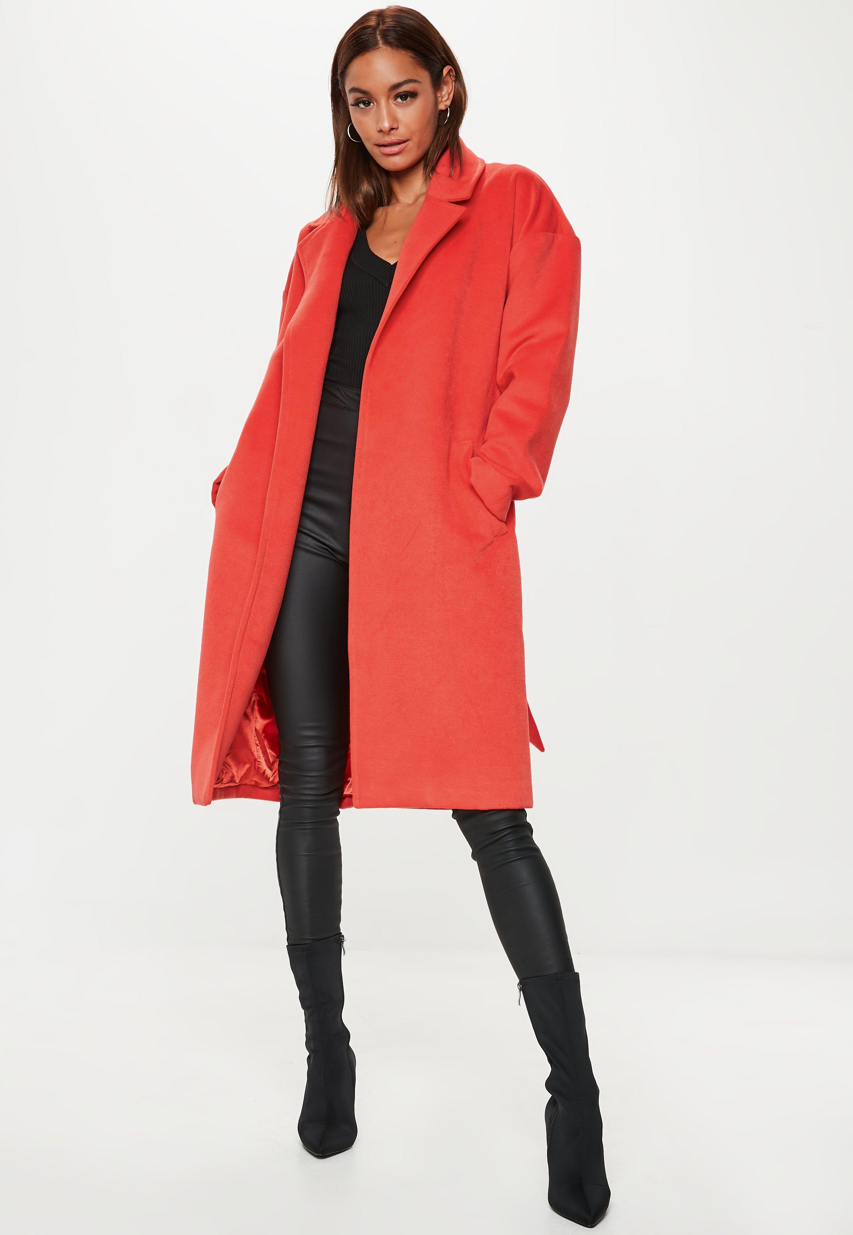Manteau long décontracté orange à ceinture   Missguided e2fcab2bcac7