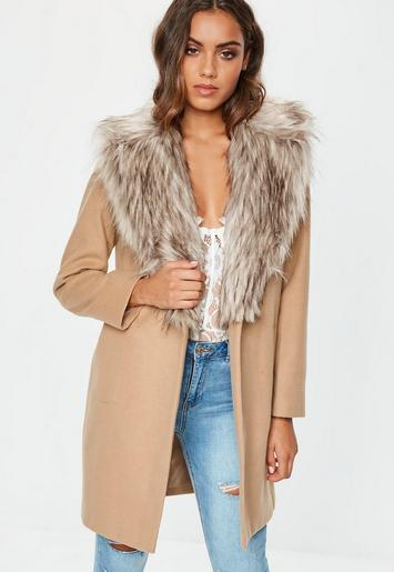 Camel Faux Fur Collar Short Formal Coat Missguided