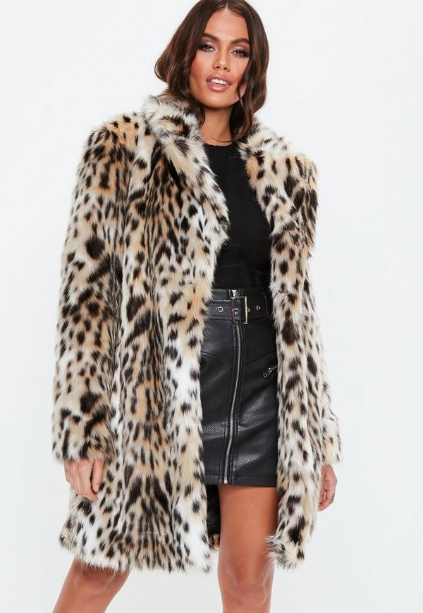 MissGuided manteau nude en fausse fourrure imprimé léopard