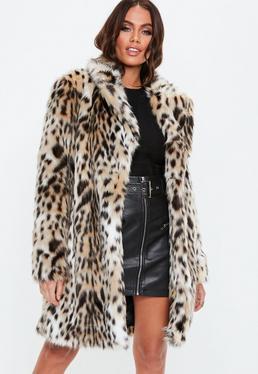 Nude Leopard Print Faux Fur Coat