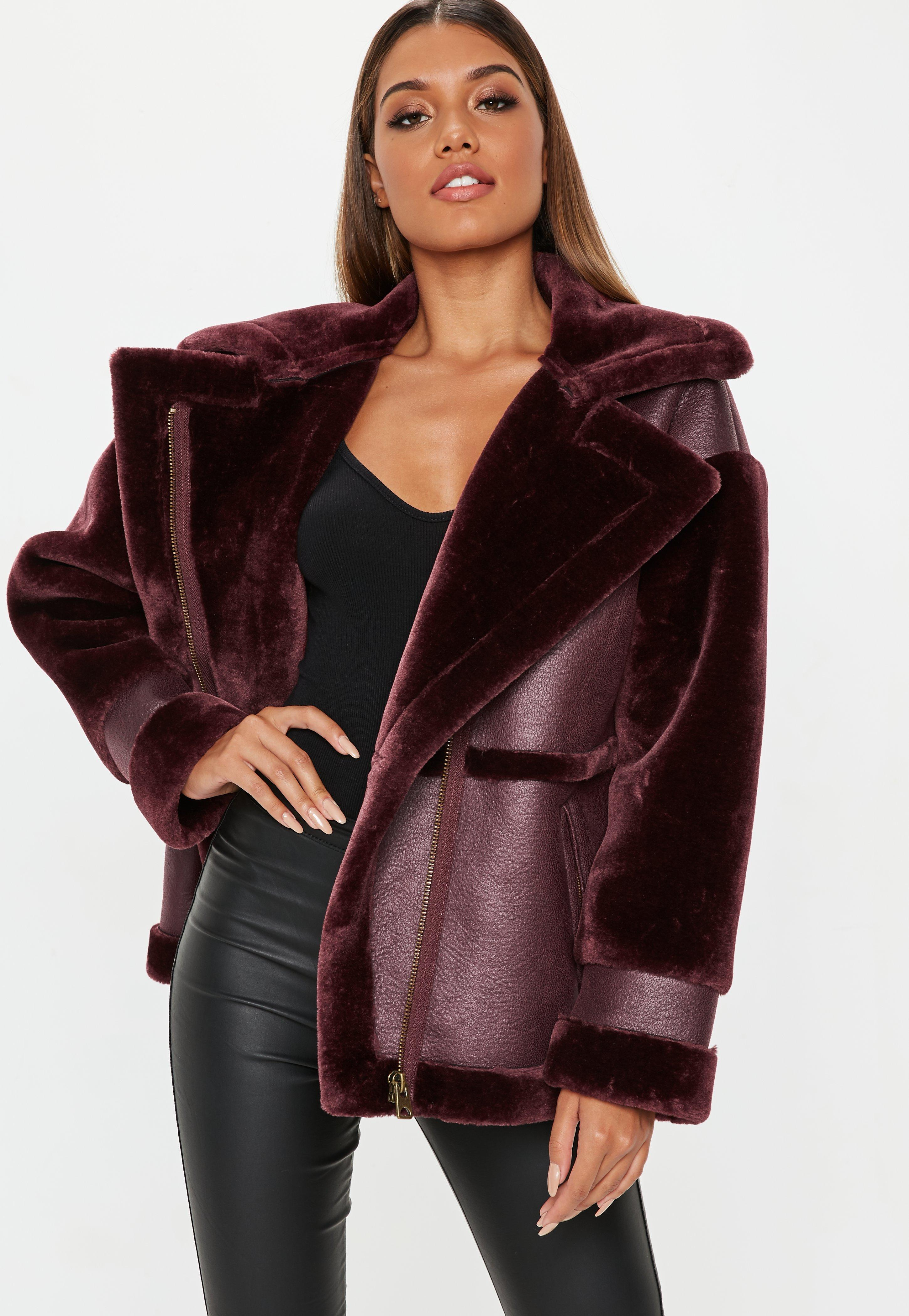 405df1396 Wine Faux Fur Sleeve Aviator Jacket