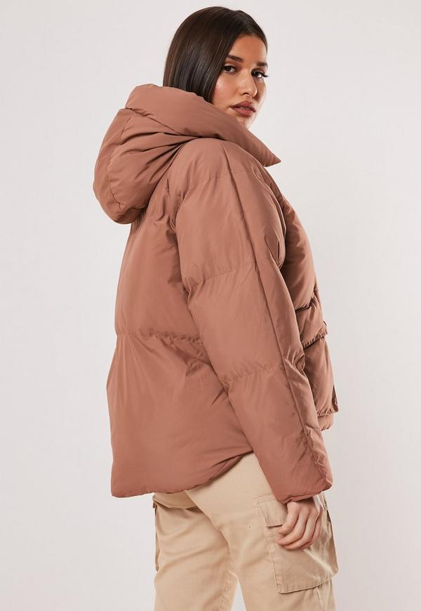 Mocha Oversized Hooded Ultimate Puffer Jacket by Missguided