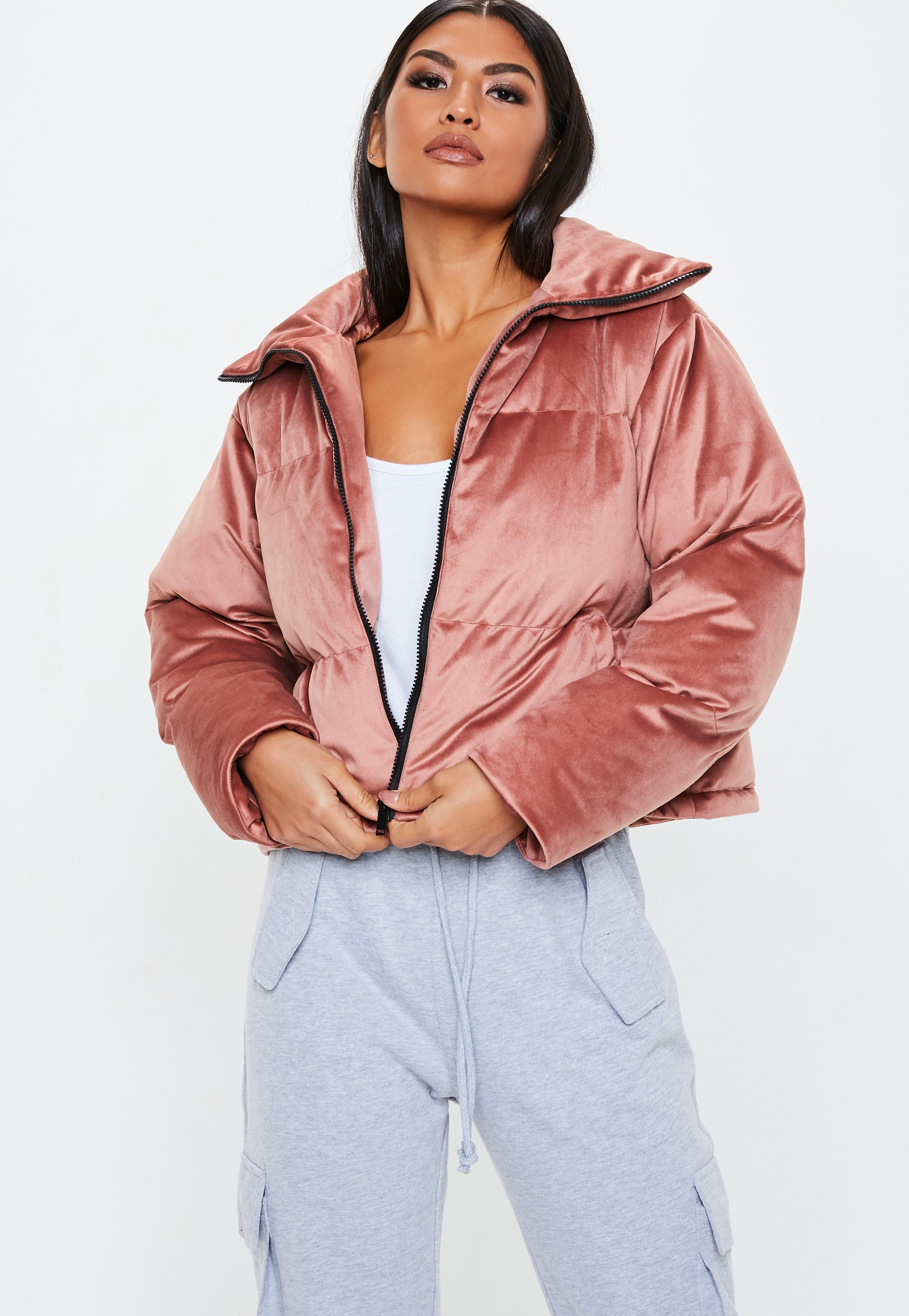 84072979d26a Pink Velvet Puffer Jacket