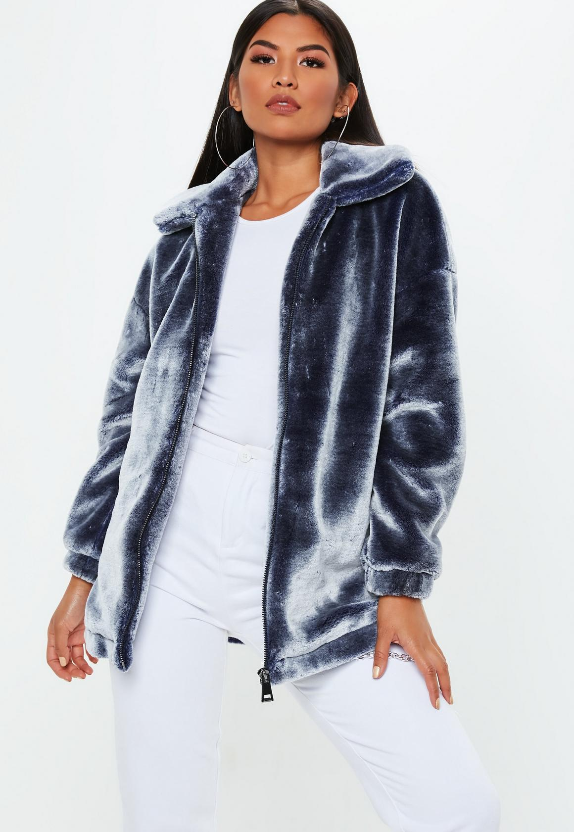 4cfa6841a Navy Oversized Faux Fur Jacket