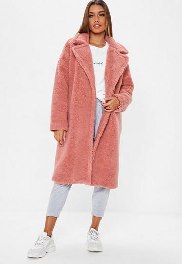 Blush Pink Oversized Chunky Borg Teddy Coat Missguided