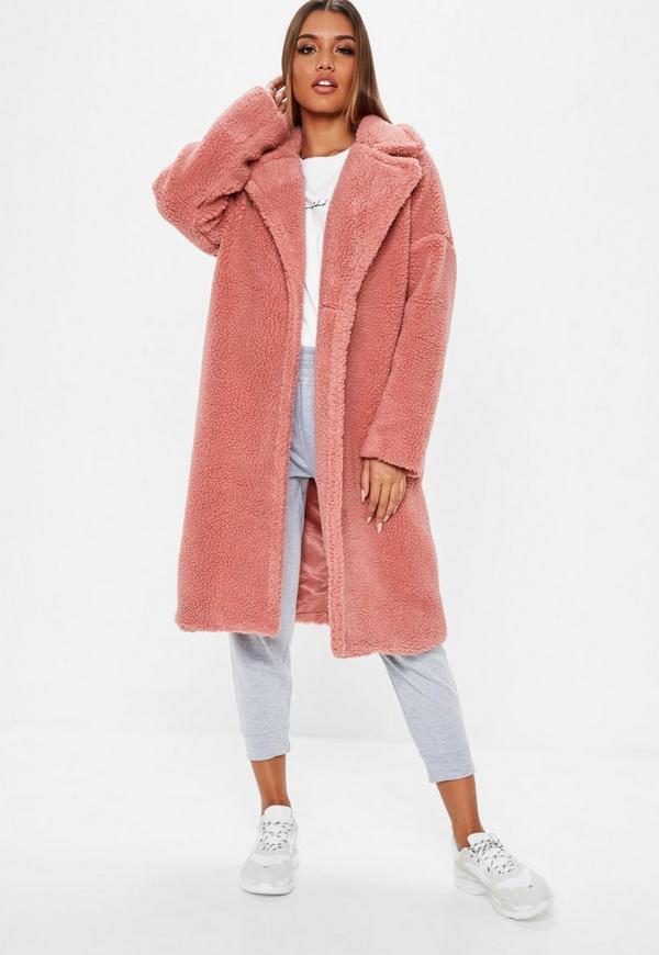 Blush Pink Oversized Chunky Borg Teddy Coat  8f1da1229