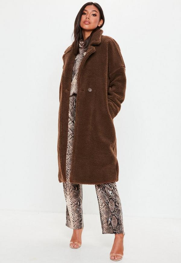brown chunky borg teddy coat missguided