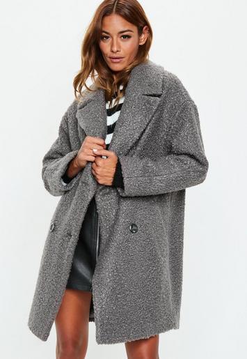 manteau gris oversize style laine boucl e missguided. Black Bedroom Furniture Sets. Home Design Ideas