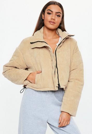 Beige Cord Crop Puffer Jacket | Missguided