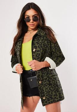 6b935c978c Brown Animal Faux Leather Boyfriend Biker Jacket  Khaki Leopard Print Camo  Parka Jacket