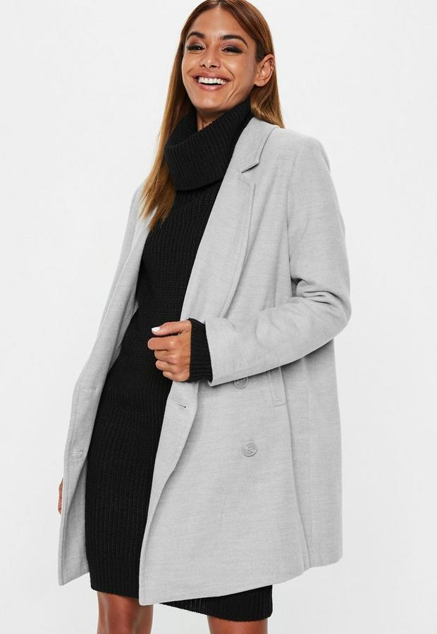 Missguided Women's Grey Double Breasted Formal Coat