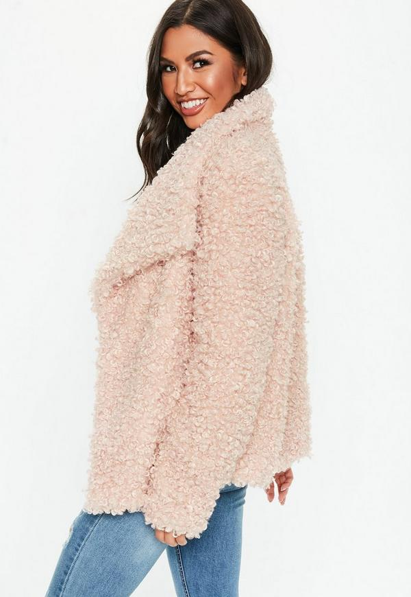 9630d6cc34ec Pink Shaggy Waterfall Faux Fur Jacket. Previous Next