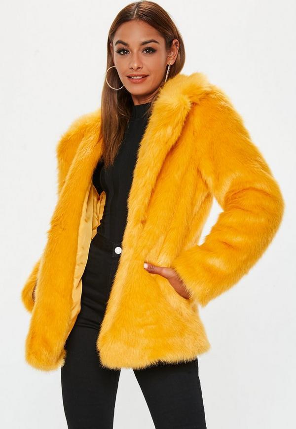 MissGuided manteau jaune en fausse fourrure