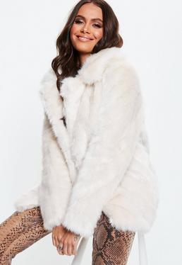 MissGuided manteau crème en fausse fourrure et gros col