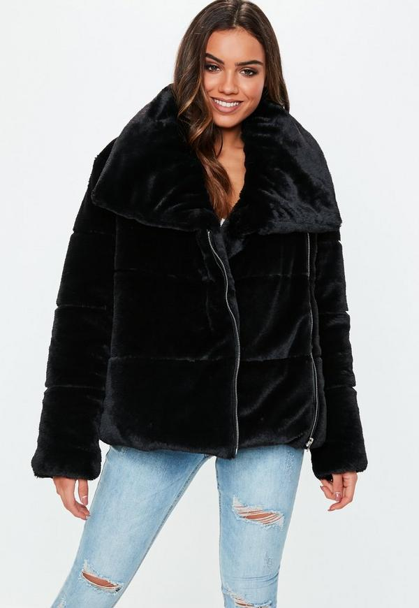 6b7dee79297 Black Oversized Faux Fur Puffer Jacket