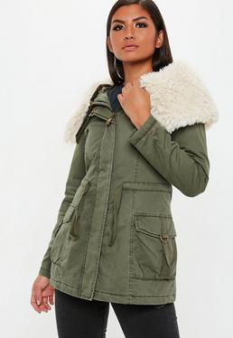 c252f373dce Womens Parka Coats | Fur Lined Khaki Parka - Missguided