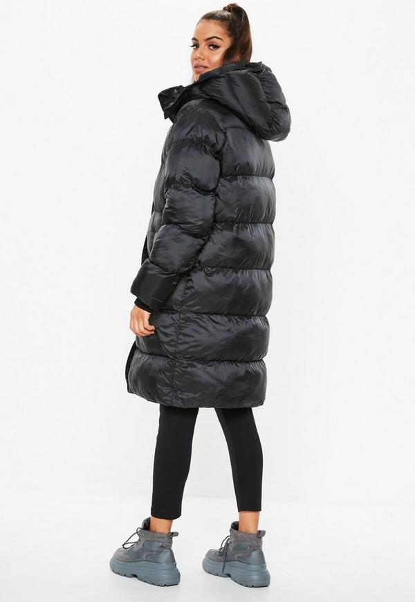 Black Longline Puffer Jacket Missguided