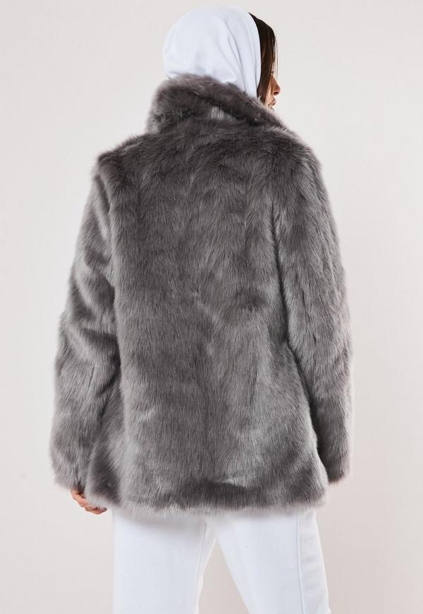 78f142b13ad6a Grey Faux Fur Coat with Collar. Previous Next