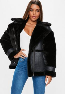 Black Faux Fur Sleeve Aviator Jacket