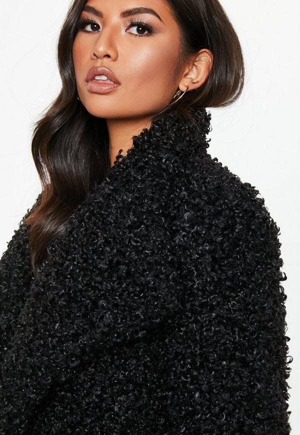 8132233c3909 ... Black Shaggy Waterfall Faux Fur Jacket. Previous Next