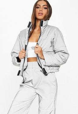 a6116aceb6 ... Fanny Lyckman X Missguided Grey Reflective Piped Puffer Jacket