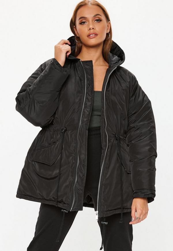 Black Cocoon Utility Parka Jacket by Missguided