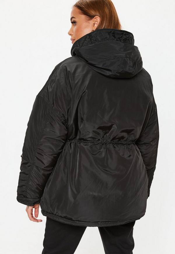 9be153b499850 Black Cocoon Utility Parka Jacket. Previous Next