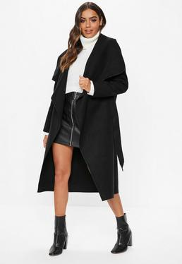 e272855a5f4 Black Belted Waterfall Coat