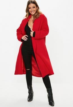 0727abac792 ... Jacket  Red Shawl Collar Midi Coat