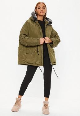 4de982f5022 ... Khaki Contrast Faux Fur Trim Utility Parka Jacket