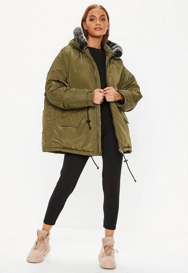 d25b9d0f1c65f Khaki Contrast Faux Fur Trim Utility Parka Jacket