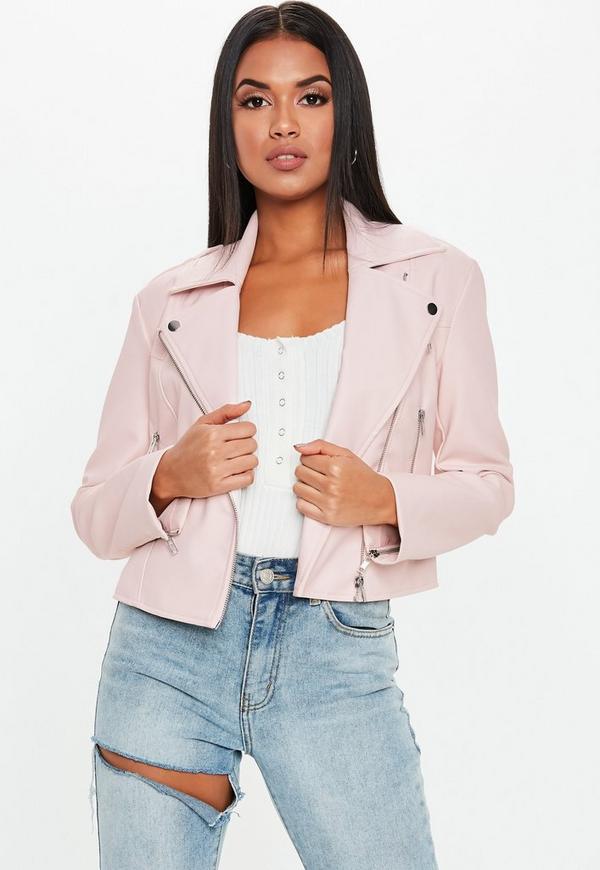 4b216c77a626 Pink Faux Leather Biker Jacket
