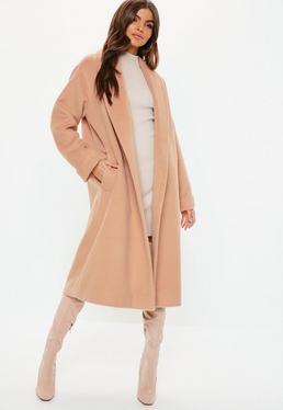 abbcd668eaa1 Nude Brushed Shawl Wool Midi Coat
