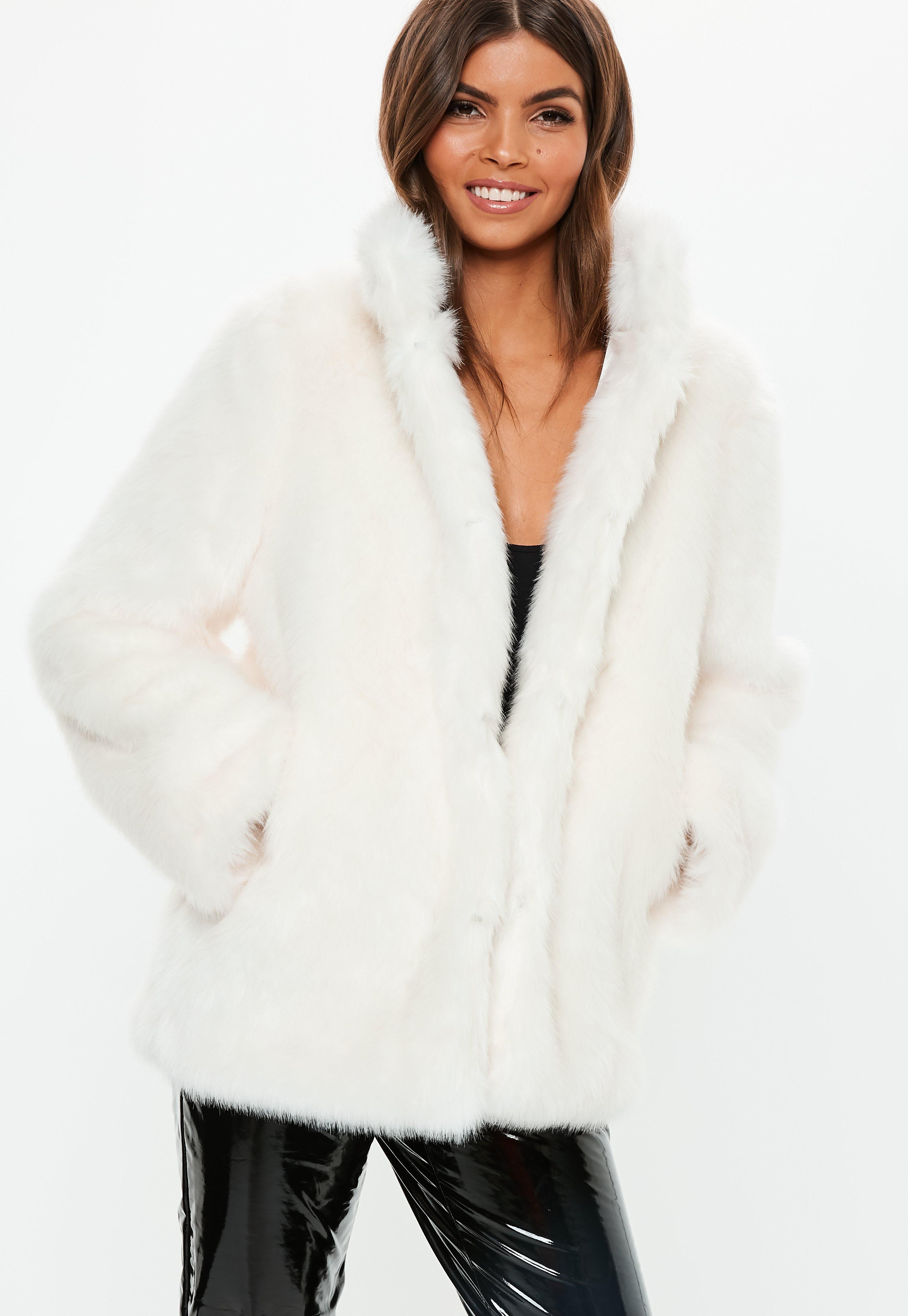 White Stand Collar Faux Fur Coat  64b1f1d237bd