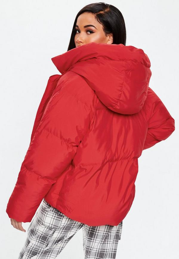1aeb00df4465e ... Red Oversized Hooded Ultimate Puffer Jacket. Previous Next
