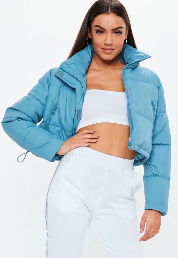 cc5847fd13f9 Blue Crop Oversized Puffer Jacket