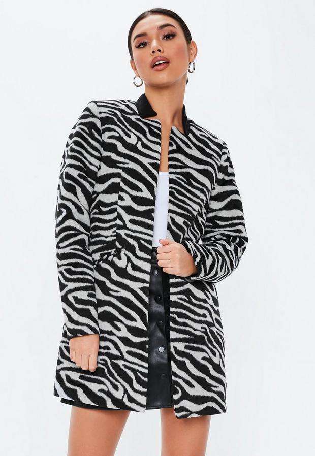 Missguided - Zebra Inverted Collar Coat - 1