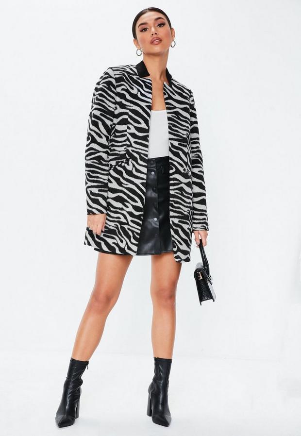 Missguided - Zebra Inverted Collar Coat - 2