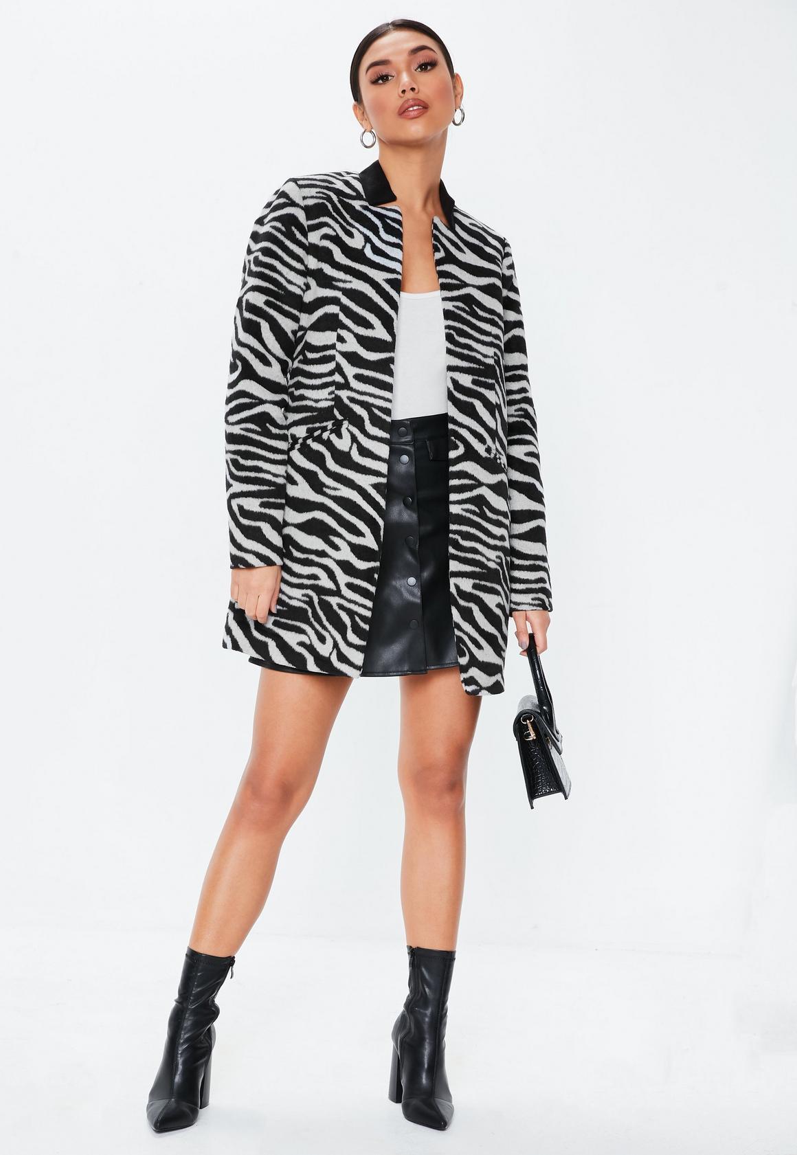 Missguided - manteau droit  imprimé zèbre col inversé - 2