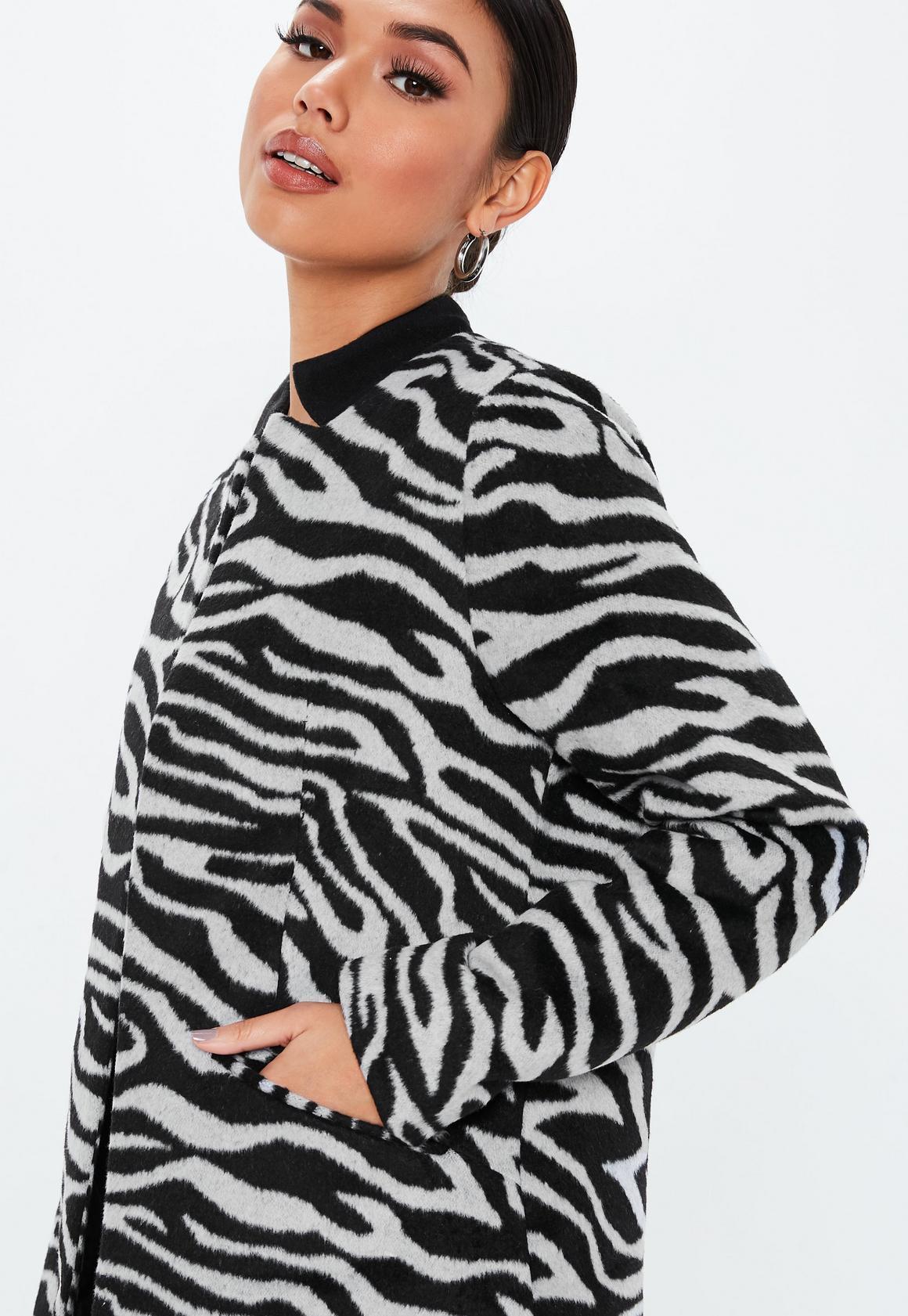 Missguided - manteau droit  imprimé zèbre col inversé - 3