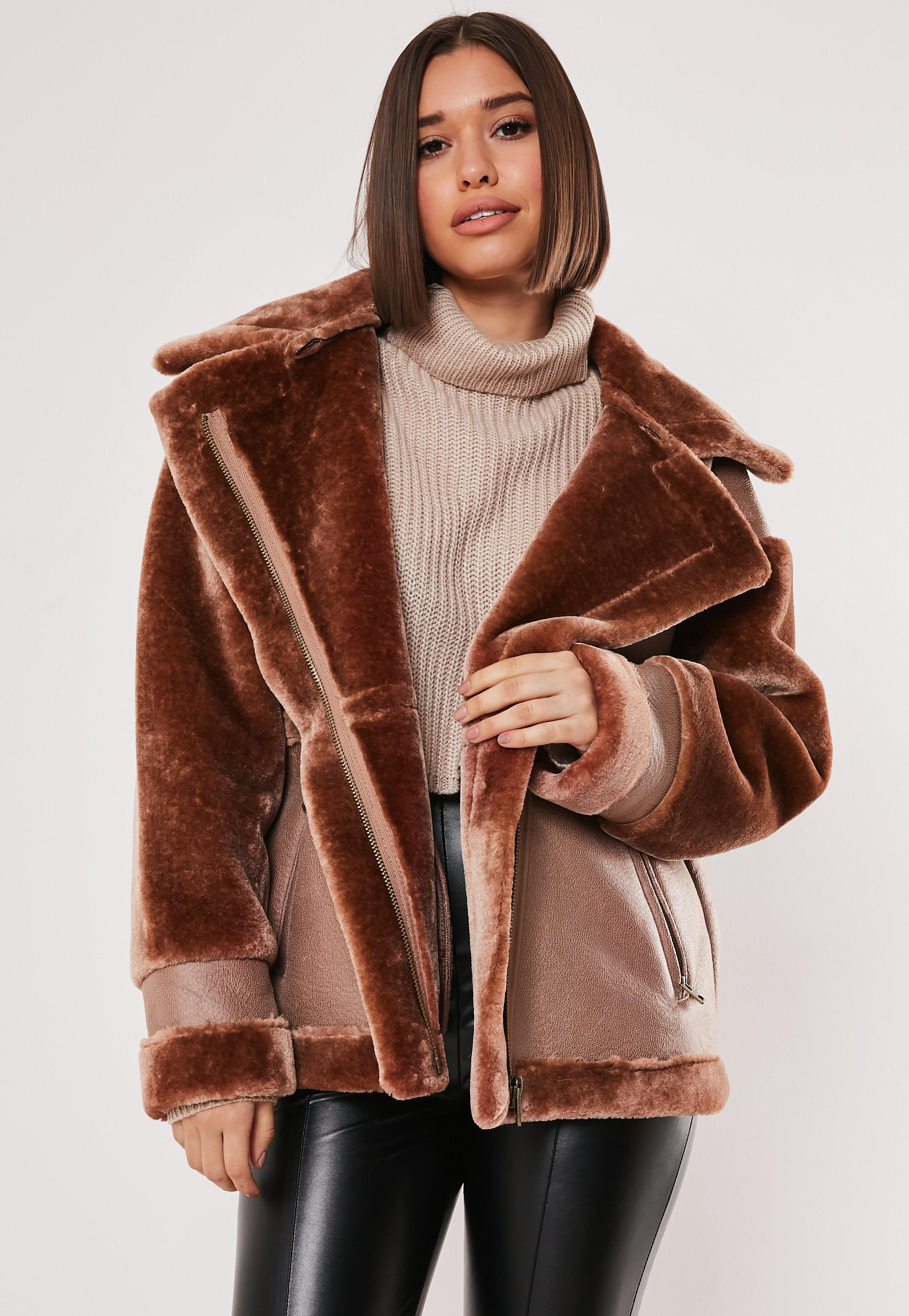 Brown Faux Fur Aviator Coat by Missguided