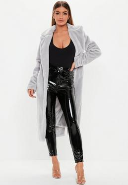 f64f06ff3921 Grey Long Faux Fur Coats