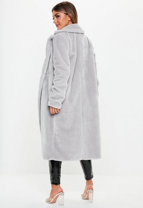 fb0c7a7b1b5c Grey Long Faux Fur Coat. Previous Next
