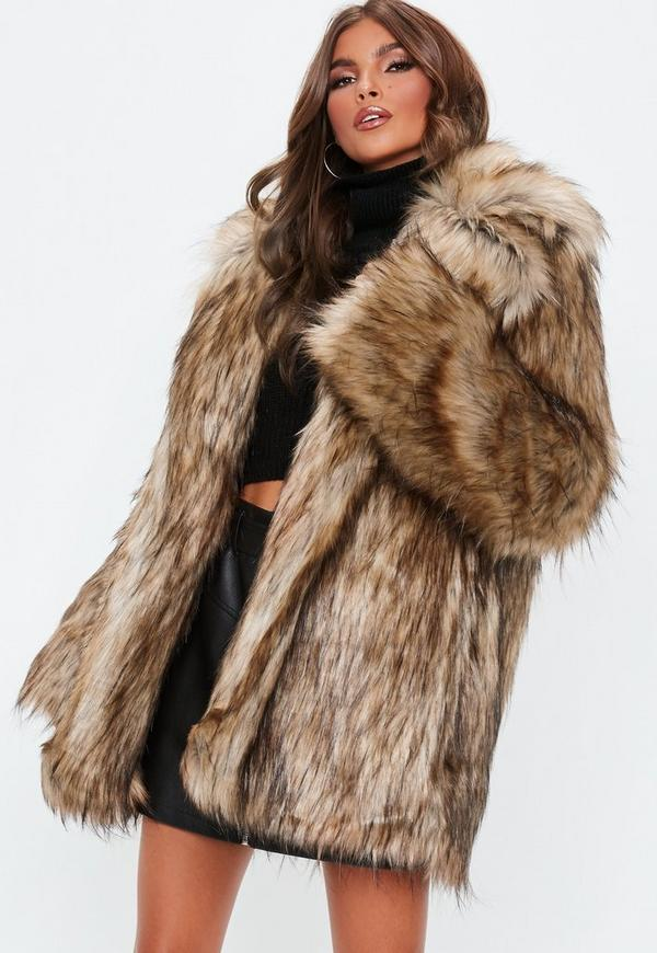 Brown Faux Fur Collared Coat | Missguided