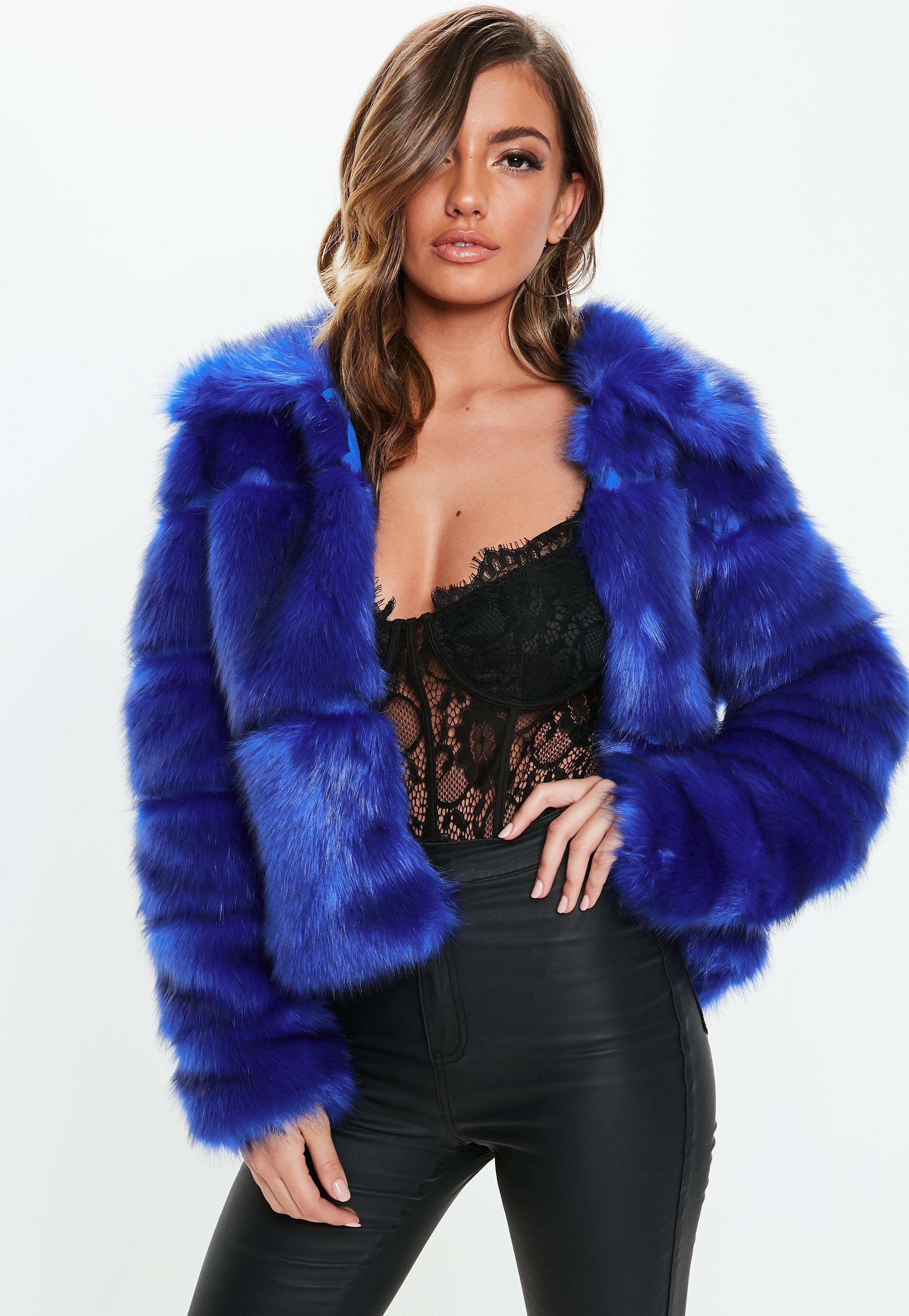 blue faux fur jacket