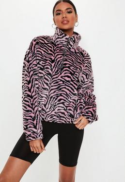 8f33dac91ce ... Pink Zebra Faux Fur Festival Jacket