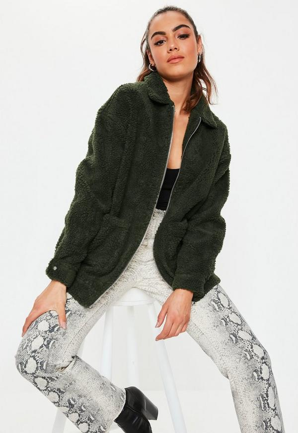 Khaki Oversized Teddy Zip Through Jacket by Missguided