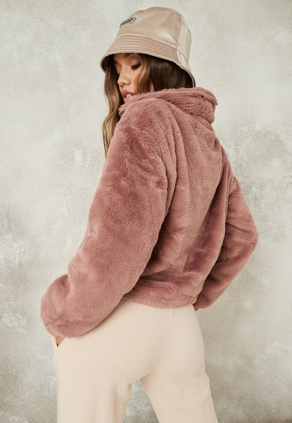 Mauve Cropped Faux Fur Bomber Jacket Missguided