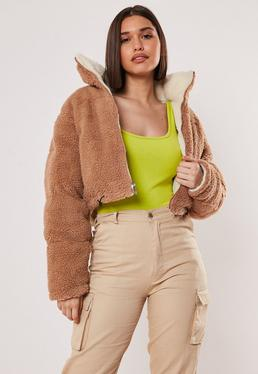 f0f6671e15a1 Tan Reversible Crop Borg Puffer Jacket