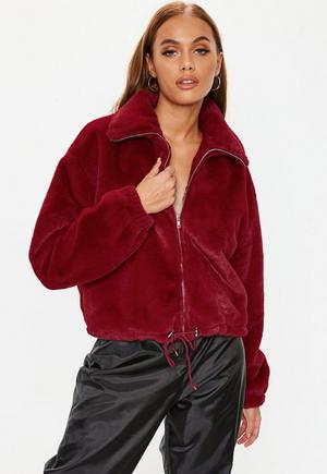 07f68c46a1e £35.00. red faux fur bomber jacket